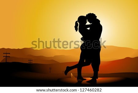 romantic couple silhouette on