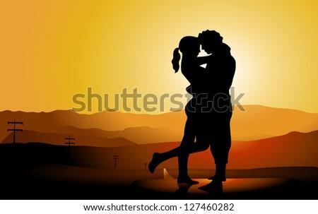 romantic couple silhouette on