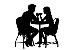 Romantic couple sitting at the table in cafe silhouette vector illustration