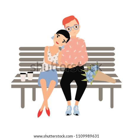 romantic couple sitting