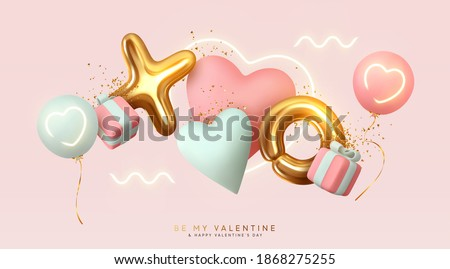 Romantic creative composition. Happy Valentine's Day. Realistic 3d festive decorative objects, heart shaped balloons and XO symbol, falling gift box, glitter gold confetti. Holiday banner and poster. stock photo