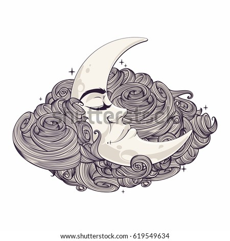 romantic crescent moon sleeping