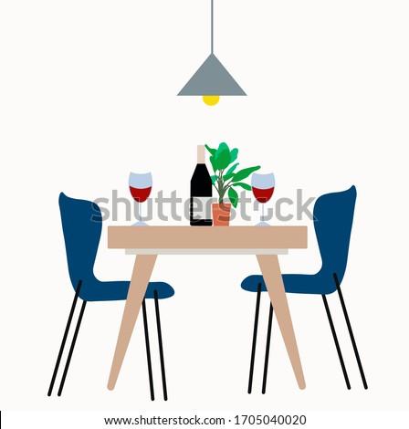 romantic date table wine