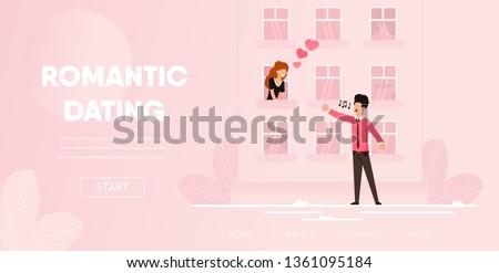 Romantic Dating Couple. Boyfriend Sing Romantic Song to Girlfriend Cartoon Vector Illustration. Man Sing Serenade Outdoor Woman Listen Window House. Love Romance Concept Proposal Night