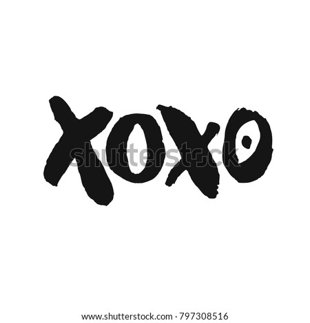 Romantic decorative poster with handdrawn lettering. Modern ink calligraphy. Handwritten rough black phrase XOXO isolated on white background. Trendy vector design for Valentines Day or wedding