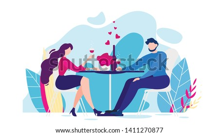 Romantic Dinner Cartoon Man and Woman Table, Nature Flower Background Vector Illustration. Girlfriend Cheers Wine Glass Drink. Romance Valentines Day Celebration. People Love Relationship