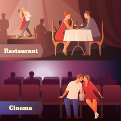 Romantic dinner dating couples flat compositions with loving couple having a date in cinema and restaurant vector illustration