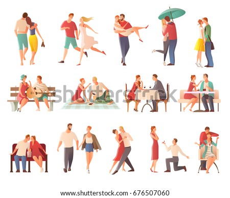 Romantic dinner dating couples flat isolated characters collection with lovers kissing going for walk giving gifts vector illustration