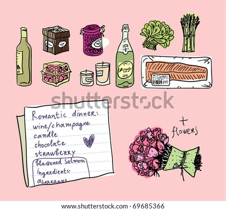 Romantic dinner ingredients