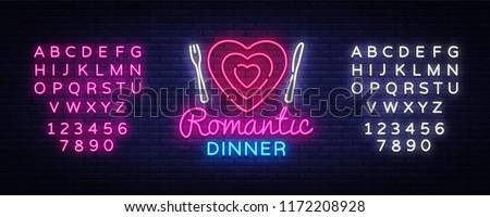 Romantic Dinner Neon Logo Vector. Romantic Dinner neon sign, design template, modern trend design, night neon signboard, night light advertising, light banner. Vector. Editing text neon sign