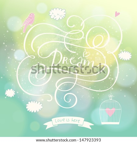 romantic dream postcard with