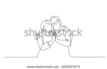 Romantic elderly couple. Old grandfather and grandmother. Continuous one line drawing. Vector illustration hand drawn.