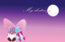 Romantic elf couple lover sleep under the moonlight and star on blue background. Love destiny,