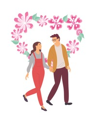 Romantic evening of couple in love vector, people enjoying company of each other, man and woman loving boyfriend and girlfriend with floral heart