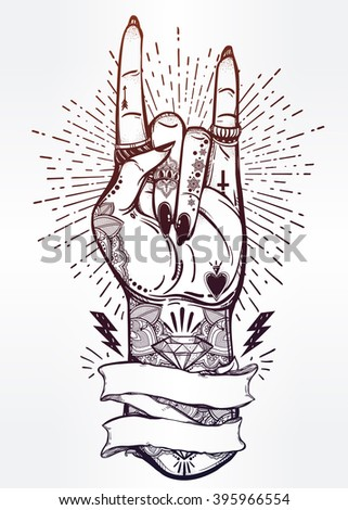 Romantic flesh art rock festival poster with frame for your text. Rock and Roll hand sign. Vector illustration isolated. Tattoo design, music, occult symbol for your use.