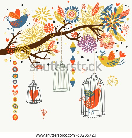Romantic floral background with cartoon birds - stock vector