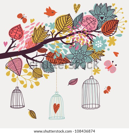 Romantic floral background with cartoon birds. Branch with autumn leaves