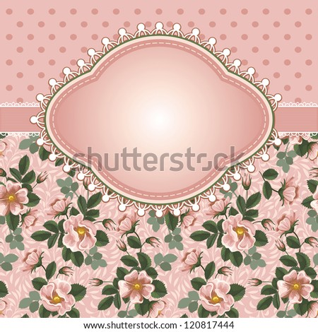 Romantic floral background with vintage flowers of wild roses