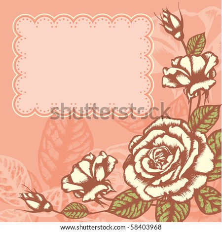 romantic floral background with vintage roses - stock vector