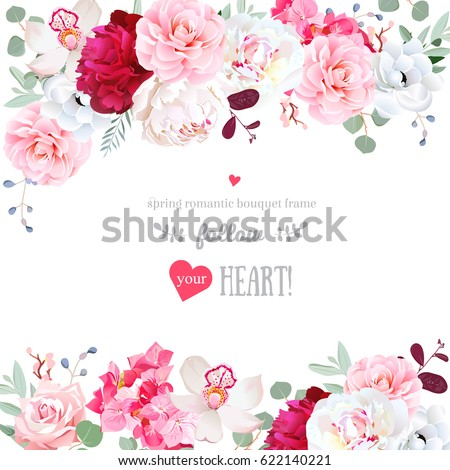 romantic floral frame arranged