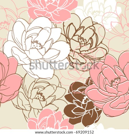 Romantic floral seamless texture. Vector