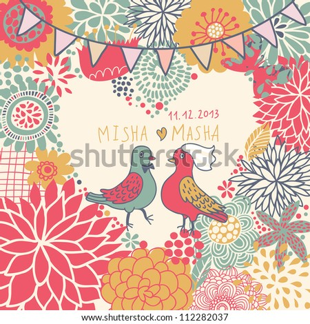 Romantic floral wedding card with pigeons. Vector cute wedding invitation, happy couple.