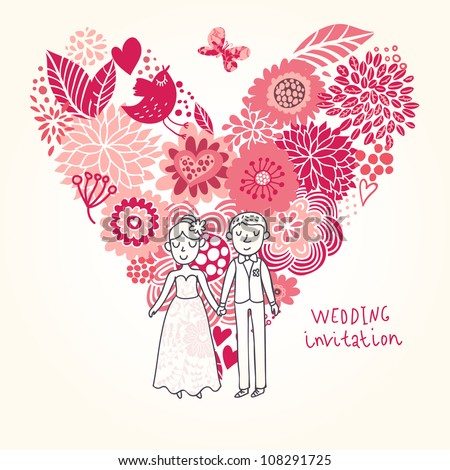 Romantic floral wedding invitation in vector. Cute marriage