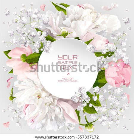 Romantic flower invitation or greeting card for wedding decoration, Valentine's Day, sales and other events with little white flowers and round paper label. #557337172