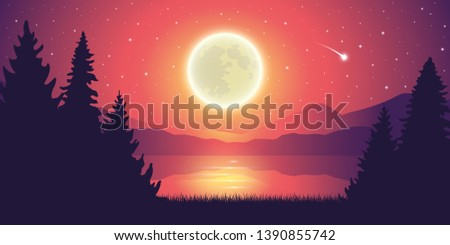 romantic full moon and falling