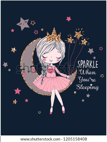 romantic girl on the moon dreamer girl vector illustration graphic design