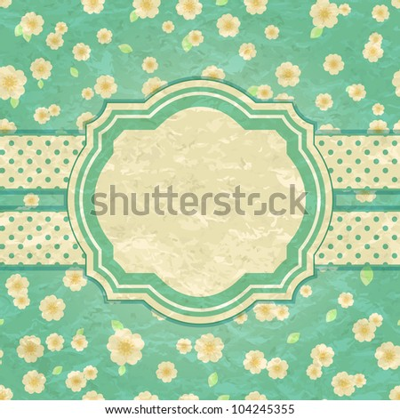 Romantic Green Floral Retro Card with Label