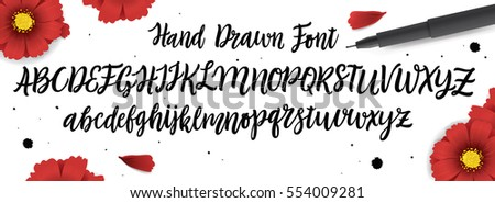 Romantic Hand Drawn Calligraphic Alphabet. Typeface for Wedding, Marriage, Bridal, Birthday, Valentine's Day. Black letters and White Background. Vector Illustration.