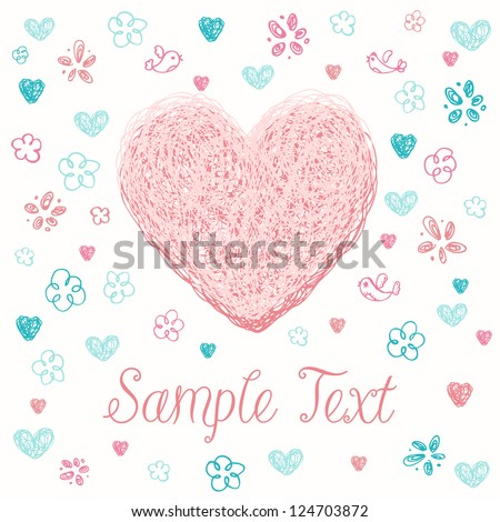 Romantic hand drawn greeting card with doodle linear stylized heart and pattern with birds and flowers. Template for design