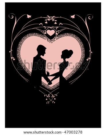Romantic heart in pink Silhouette of couple on a pink heart on black - stock vector