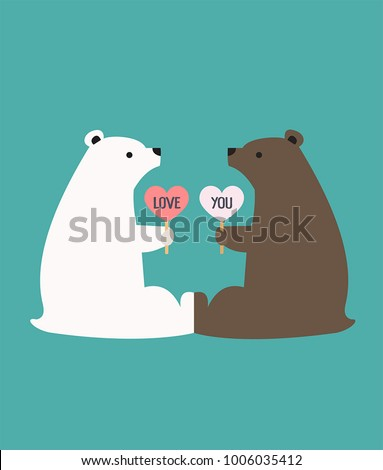 Romantic Icon of a pair of loving bears. Bears hold hearts with the inscription: I love you.