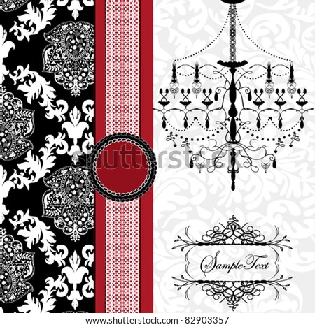 Romantic Invitation Card Design With Chandelier