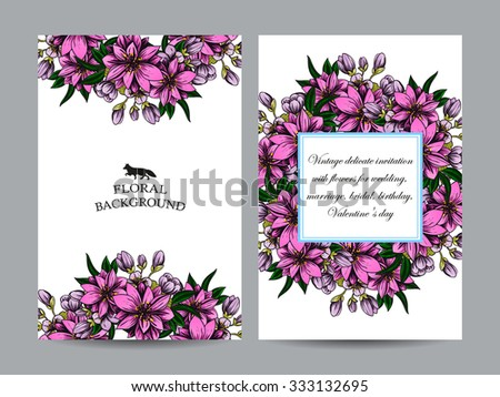 Romantic invitation. Wedding, marriage, bridal, birthday, Valentine's day. Isolated.