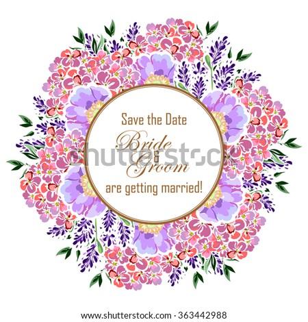 Romantic invitation. Wedding, marriage, bridal, birthday, Valentine's day. Isolated. #363442988