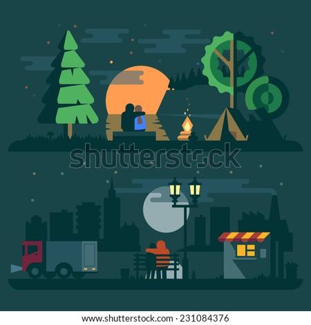 romantic landscape with a