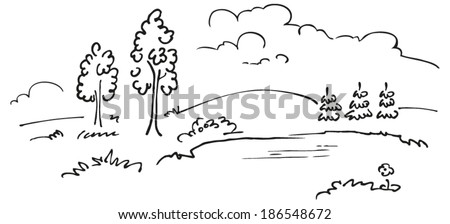 Romantic landscape with trees and pond - sketch. Rough drawing converted to vectors. Ready to change the composition and colors.