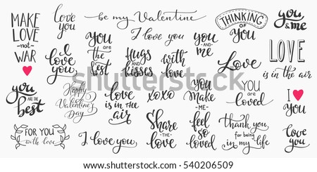 Romantic lettering set. Calligraphy postcard or poster graphic design typography element. Hand written vector style happy valentines day sign. Love in the air You make me happy Together forever stock photo