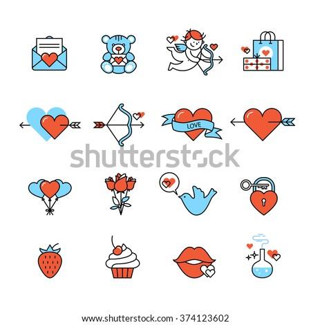 romantic love and wedding icons