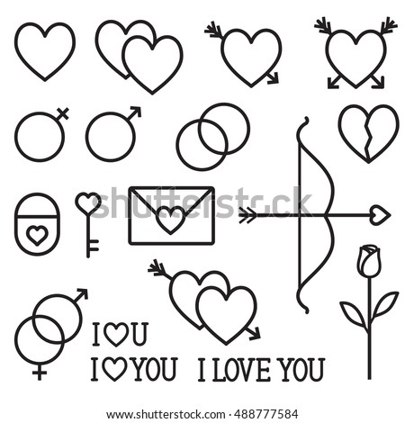 Romantic love vector outline icons set