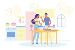Romantic Lovers Couple Enjoying Cooking Tasty Vegetable Food in Kitchen Indoors Home. Kitchenware, Hot Pan on Cuisine Background. Family Leisure. Togetherness and Affection Cute Woman and Man