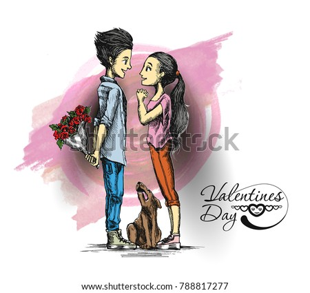 Romantic lovers for Valentine's Day, Cartoon Hand Drawn Sketch Vector Background.