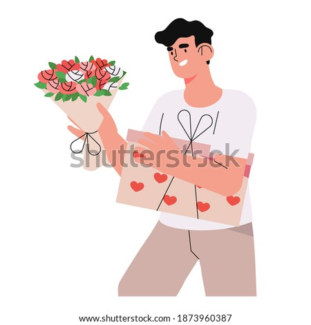 romantic male character holds