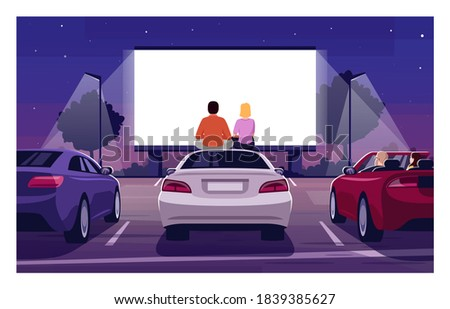 Romantic movie night semi flat vector illustration. Open air cinema. Drive in premiere. Weekend entertainment in public parking. Couple watch film 2D cartoon characters for commercial use