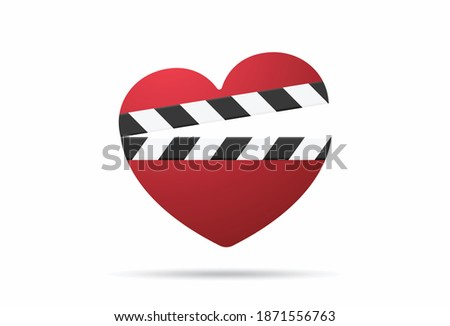 romantic movie with heart clapper isolated illustration