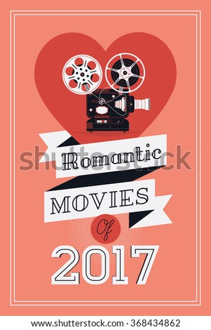 Постер, плакат: Romantic movies concept layout, холст на подрамнике