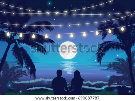 romantic night beach scene with
